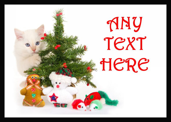 White Cat Christmas Personalised Computer Mousemat