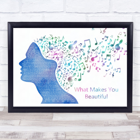 One Direction What Makes You Beautiful Colourful Music Note Hair Song Lyric Music Art Print