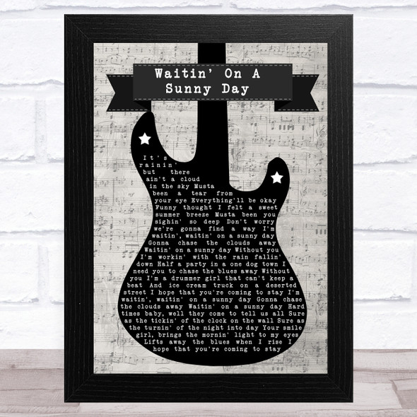 Bruce Springsteen Waitin' On A Sunny Day Electric Guitar Music Script Song Lyric Music Art Print