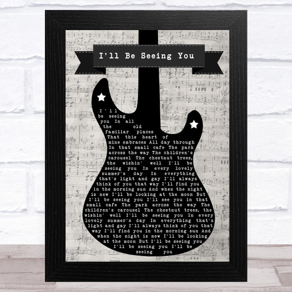 Jimmy Durante I'll Be Seeing You Electric Guitar Music Script Song Lyric Music Art Print