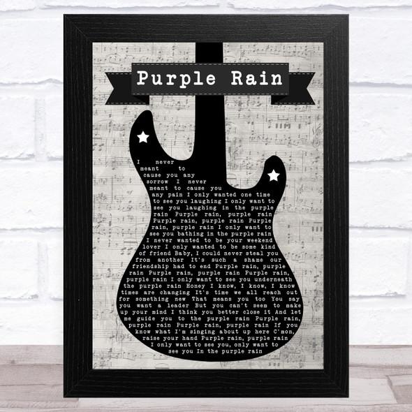 Prince Purple Rain Electric Guitar Music Script Song Lyric Music Art Print