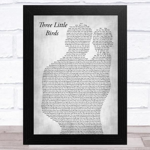 Bob Marley Three Little Birds Father & Baby Grey Song Lyric Music Art Print