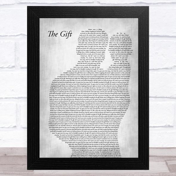 Collin Raye The Gift Father & Baby Grey Song Lyric Music Art Print