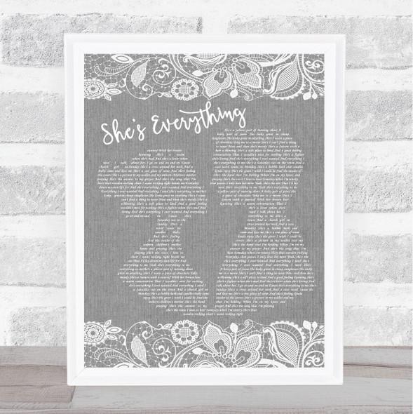 Brad Paisley She's Everything Grey Burlap & Lace Song Lyric Music Art Print