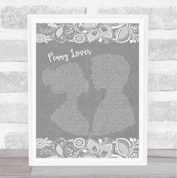 Lionel Richie Penny Lover Grey Burlap & Lace Song Lyric Music Art Print