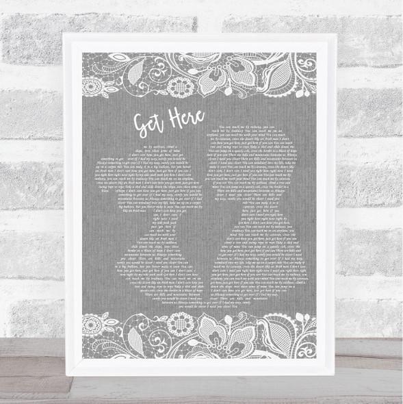 Oleta Adams Get Here Grey Burlap & Lace Song Lyric Music Art Print