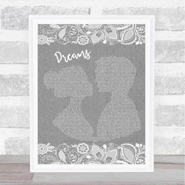 Boyz II Men Dreams Grey Burlap & Lace Song Lyric Music Art Print