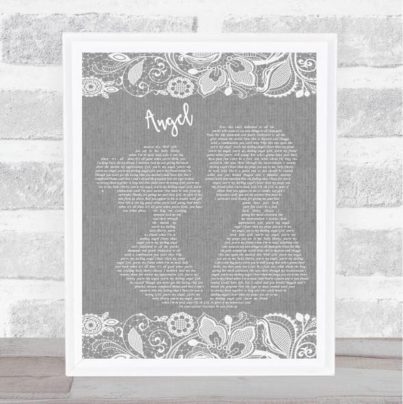 Shaggy Angel Grey Burlap & Lace Song Lyric Music Art Print