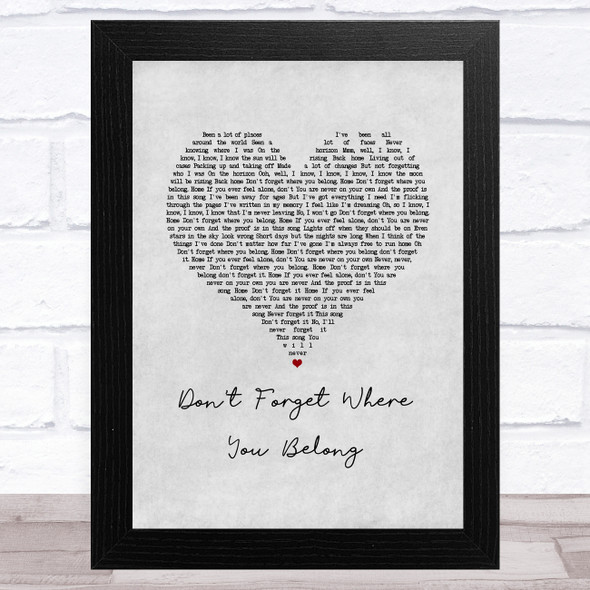 One Direction Don't Forget Where You Belong Grey Heart Song Lyric Music Art Print