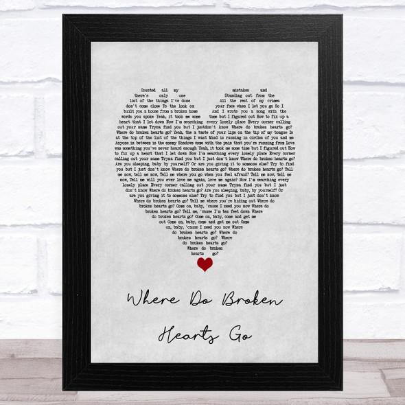 One Direction Where Do Broken Hearts Go Grey Heart Song Lyric Music Art Print