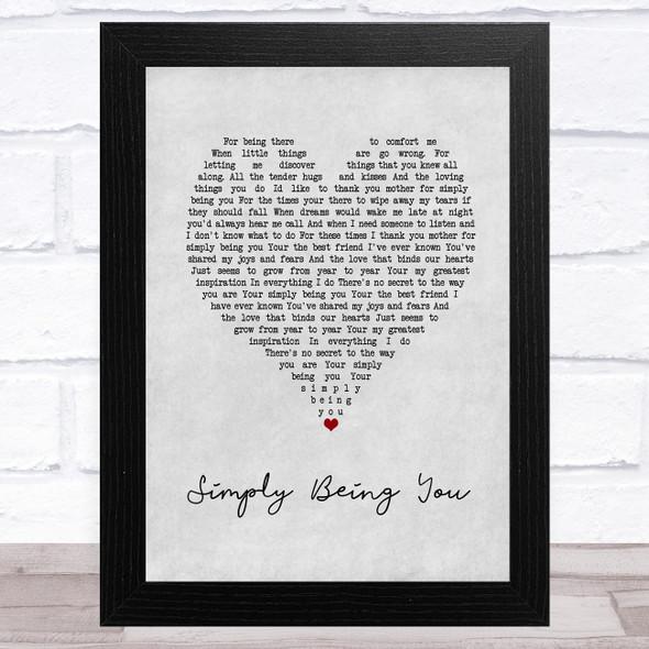 Isla Grant Simply Being You Grey Heart Song Lyric Music Art Print