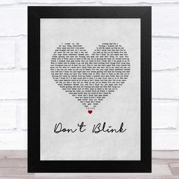 Kenny Chesney Don't Blink Grey Heart Song Lyric Music Art Print
