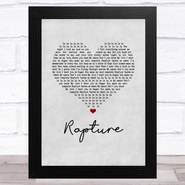 iiO Rapture Grey Heart Song Lyric Music Art Print