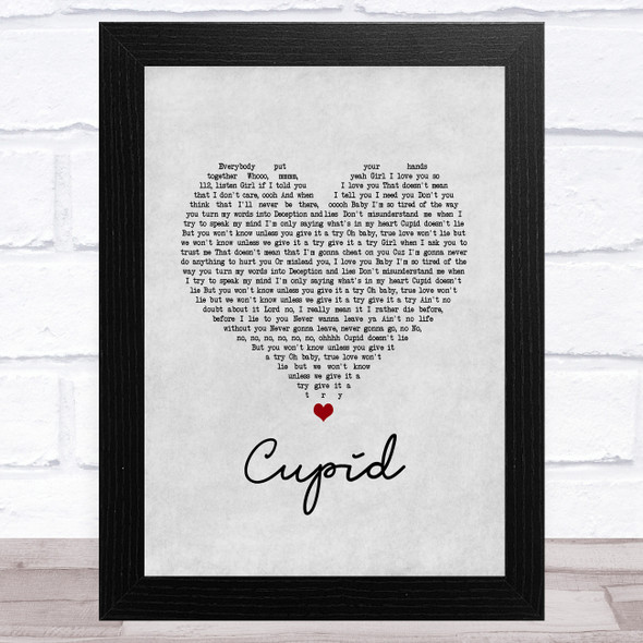 112 Cupid Grey Heart Song Lyric Music Art Print