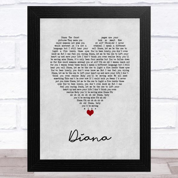 One Direction Diana Grey Heart Song Lyric Music Art Print