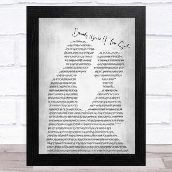 Looking Glass Brandy (You're A Fine Girl) Man Lady Bride Groom Wedding Grey Song Lyric Music Art Print