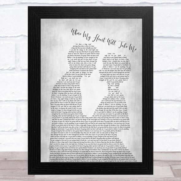 Russell Watson Where My Heart Will Take Me Man Lady Bride Groom Wedding Grey Song Lyric Music Art Print