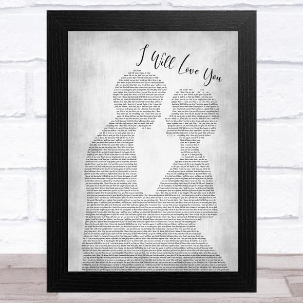 Gin Wigmore I Will Love You Man Lady Bride Groom Wedding Grey Song Lyric Music Art Print