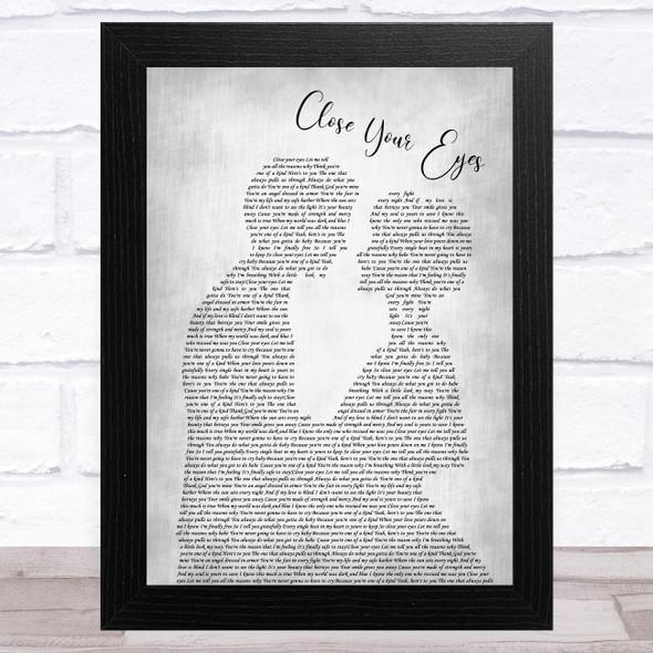 Michael Buble Close Your Eyes Man Lady Bride Groom Wedding Grey Song Lyric Music Art Print