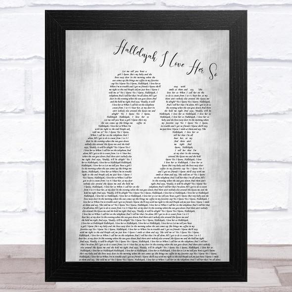 Hugh Laurie Hallelujah I Love Her So Man Lady Bride Groom Wedding Grey Song Lyric Music Art Print