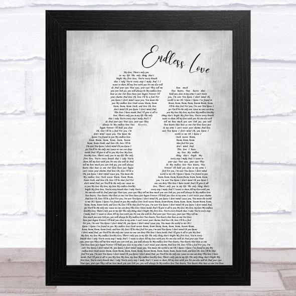 Lionel Richie Endless Love Man Lady Bride Groom Wedding Grey Song Lyric Music Art Print
