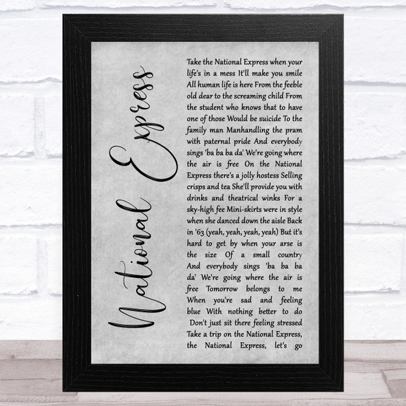 The Divine Comedy National Express Grey Rustic Script Song Lyric Music Art Print