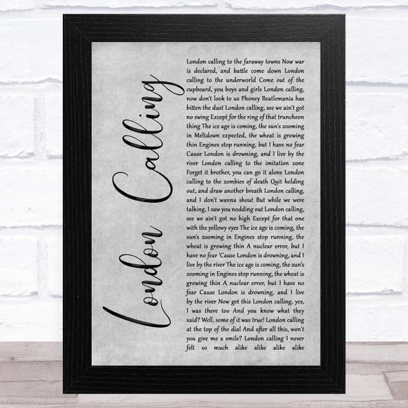 The Clash London Calling Grey Rustic Script Song Lyric Music Art Print