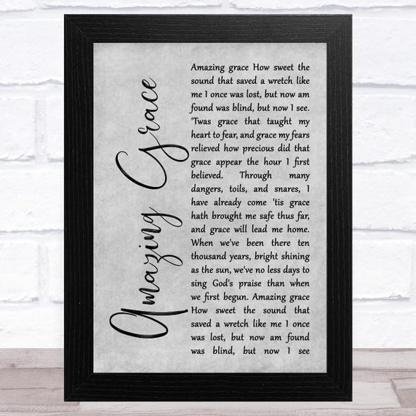 Alan Jackson Amazing Grace Grey Rustic Script Song Lyric Music Art Print