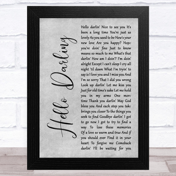 Conway Twitty Hello Darling Grey Rustic Script Song Lyric Music Art Print