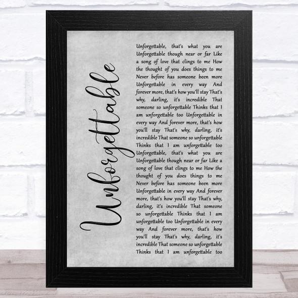 Nat King Cole Unforgettable Grey Rustic Script Song Lyric Music Art Print