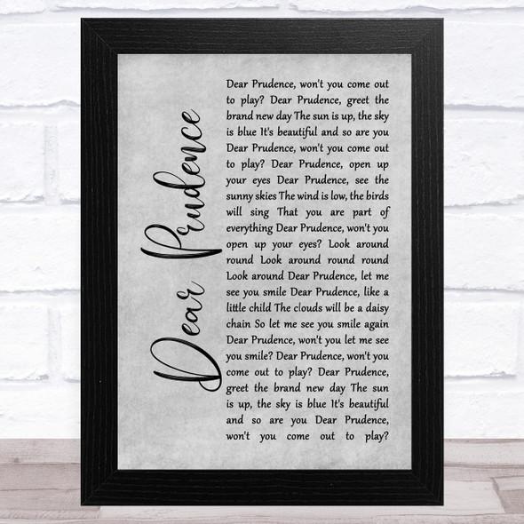 The Beatles Dear Prudence Grey Rustic Script Song Lyric Music Art Print