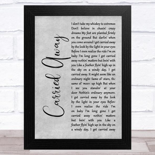 George Strait Carried Away Grey Rustic Script Song Lyric Music Art Print