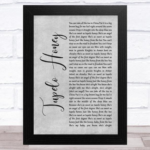 Van Morrison Tupelo Honey Grey Rustic Script Song Lyric Music Art Print