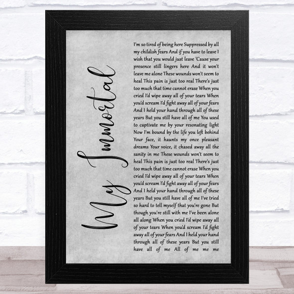Evanescence My Immortal Grey Rustic Script Song Lyric Music Art Print