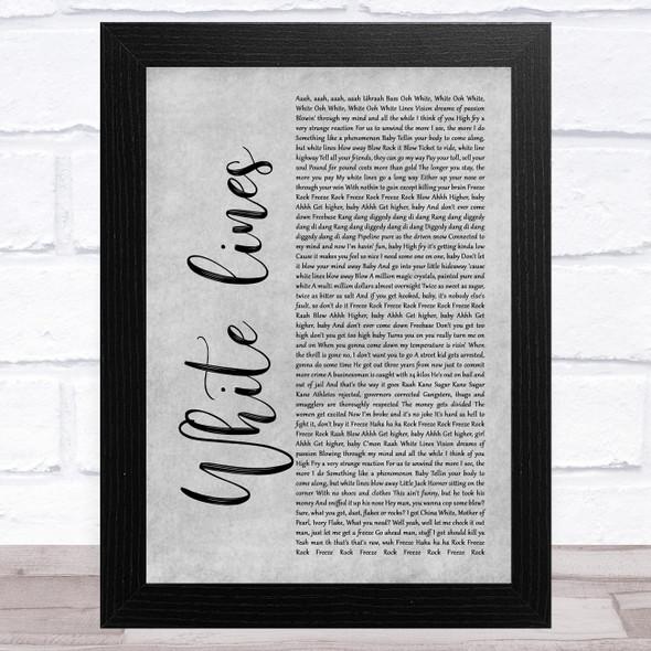 Grandmaster Flash White lines Grey Rustic Script Song Lyric Music Art Print