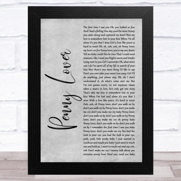 Lionel Richie Penny Lover Grey Rustic Script Song Lyric Music Art Print
