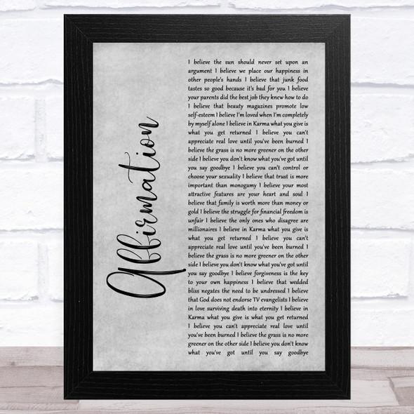 Savage Garden Affirmation Grey Rustic Script Song Lyric Music Art Print