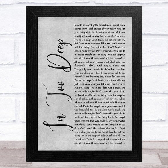 Why Don't We In Too Deep Grey Rustic Script Song Lyric Music Art Print