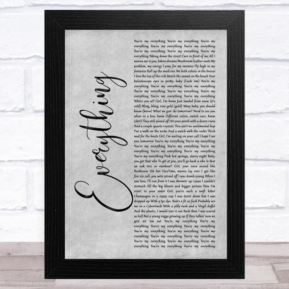 Jaden Smith Everything Grey Rustic Script Song Lyric Music Art Print
