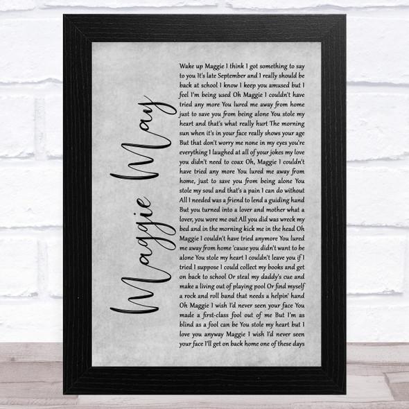 Rod Stewart Maggie May Grey Rustic Script Song Lyric Music Art Print