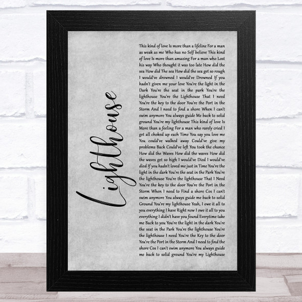 Westlife Lighthouse Grey Rustic Script Song Lyric Music Art Print