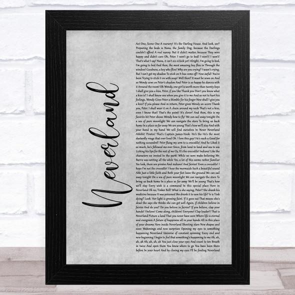Matthew Morrison, Laura Michelle Kelly, Neverland Grey Rustic Script Song Lyric Music Art Print