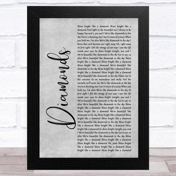 Rihanna Diamonds Grey Rustic Script Song Lyric Music Art Print