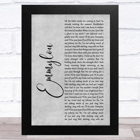 First Aid Kit Emmylou Grey Rustic Script Song Lyric Music Art Print