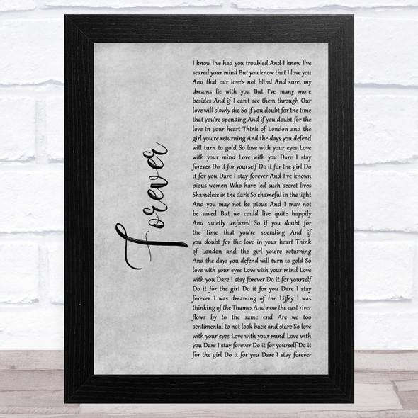 Mumford & Sons Forever Grey Rustic Script Song Lyric Music Art Print