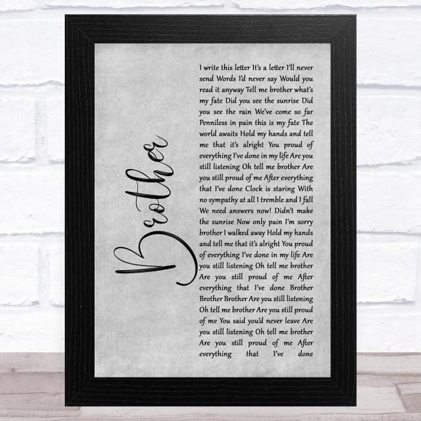 SAUL Brother Grey Rustic Script Song Lyric Music Art Print