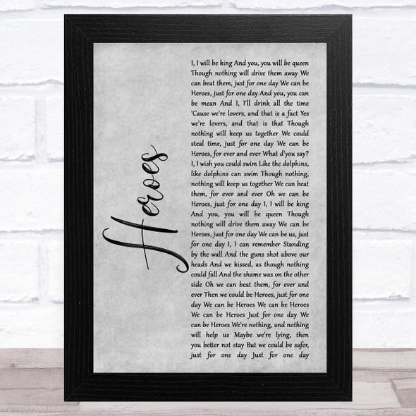 David Bowie Heroes Grey Rustic Script Song Lyric Music Art Print