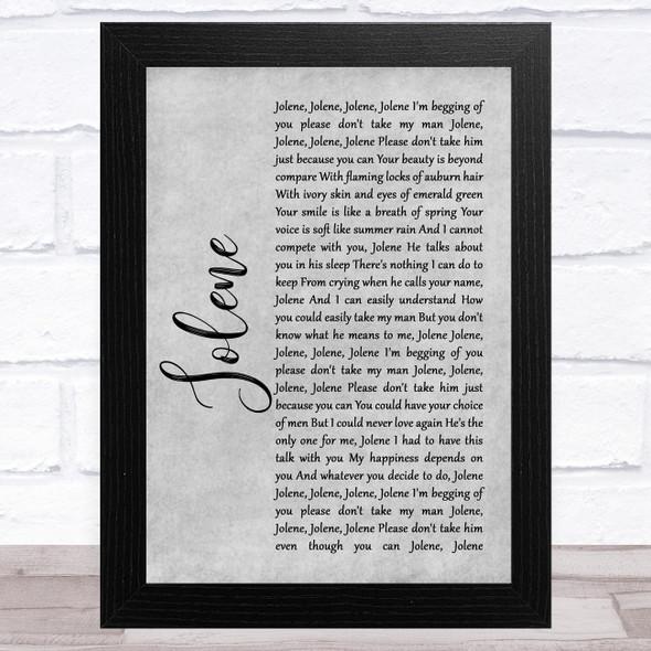 Dolly Parton Jolene Grey Rustic Script Song Lyric Music Art Print