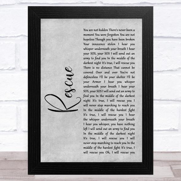 Lauren Daigle Rescue Grey Rustic Script Song Lyric Music Art Print