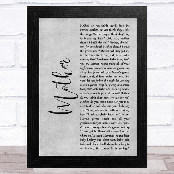 Pink Floyd Mother Grey Rustic Script Song Lyric Music Art Print